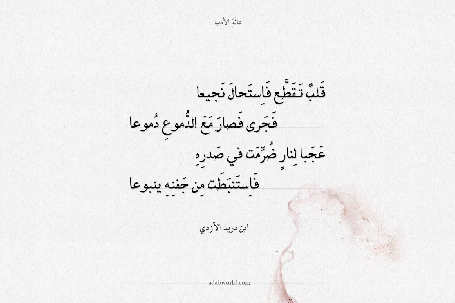 شعر ابن دريد الأزدي - قلب تقطع فاستحال نجيعا