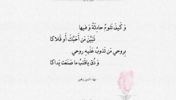 شعر بهاء الدين زهير بروحي من تذوب عليه روحي
