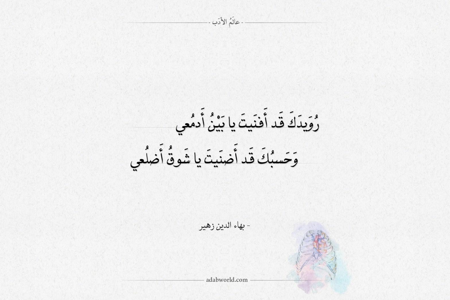 شعر بهاء الدين زهير رويدك قد أفنيت يا بين أدمعي