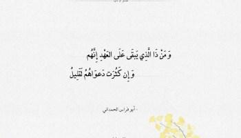 شعر أبو فراس الحمداني من ذا الذي يبقى على العهد