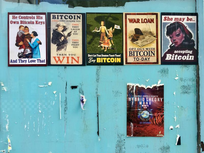 Bitcoin posters in Brighton