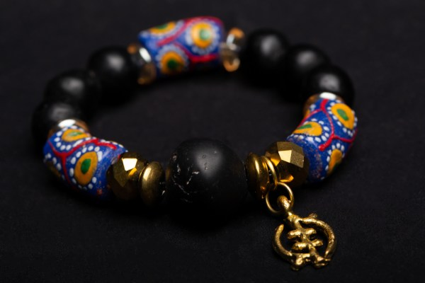 Gold Gye Nyame Charm with Blue, White, and Red Beads