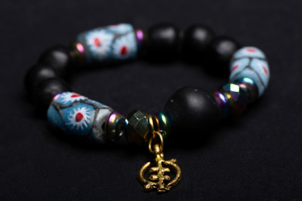Gold Gye Nyame Charm with Light Blue and Red Beads