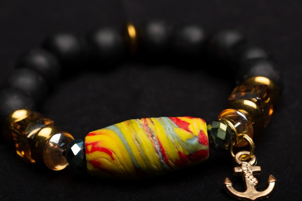 Gold Anchor Charm with Yellow Multi-colored Bead