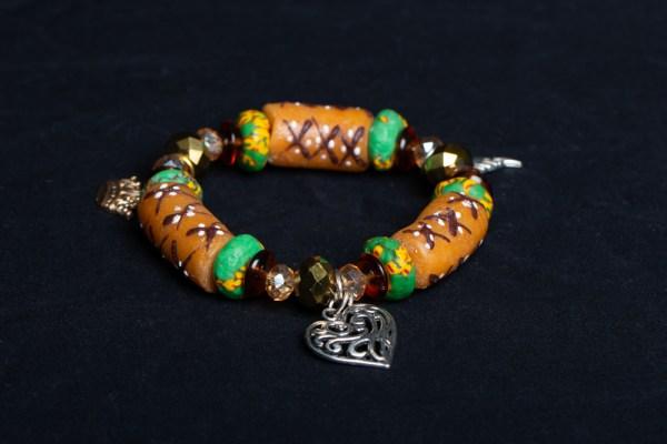 Green, Tan, Beads with Akoma Charm