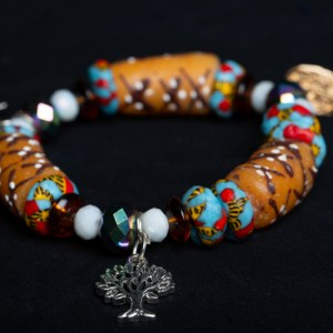 Tan, Turquoise/Red Bead with White and Tree Charm