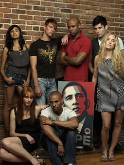 Millennials with Obama poster