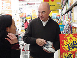 ON-THE-SPOT ADJUSTMENTS: After Alan Jope learned that Zu Quingrong  couldn't understand the entire Omo range of laundry products, he told  staff to ramp up improved packaging designs.