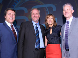 (from l.) 'SportsCenter' anchor Steve Levy; Ed Erhardt, ESPN's president-customer marketing and sales; 'SportsCenter' anchor Hannah Storm; and 'Mayne Street' host Kenny Mayne