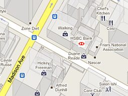 A Google map showing the location of an HSBC branch with the bank's logo as a marker.