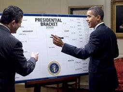 President Obama makes his picks as ESPN's Andy Katz looks on.