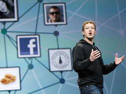 Facebook CEO Mark Zuckerberg presenting at the F8 developers  conference.