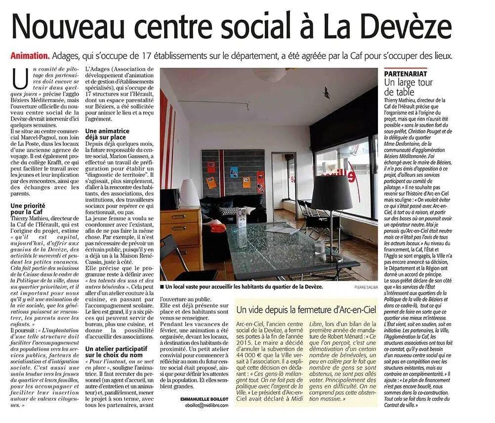 Midi Libre, Centre socioculturel Béziers