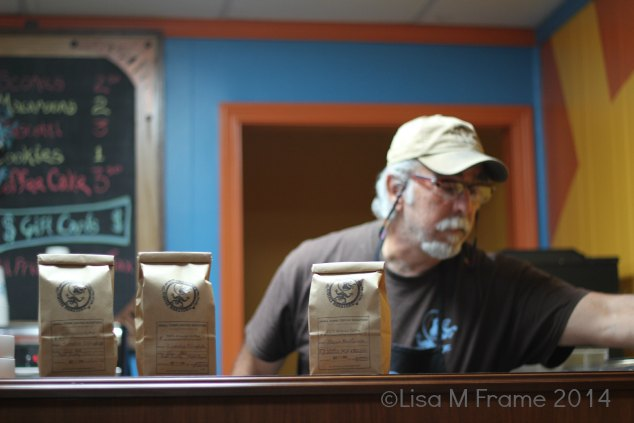 Coffee waiting while the barista works his magic at Small Town Coffee Roasters in Rutherfordton, NC