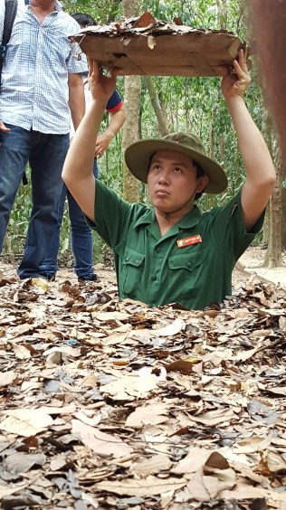 This is an entrance to the Cu Chi tunnels