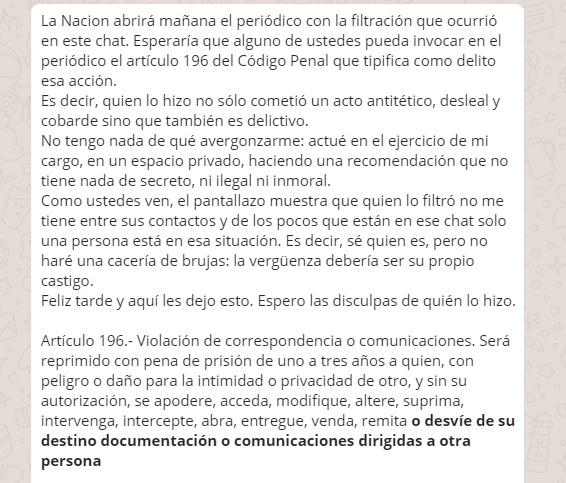 Fragmento del mensaje del ministro Herrera a los diputados del PAC. (Vía Nación)