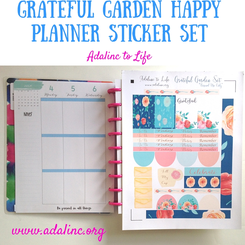 GRATEFUL GARDEN HAPPY PLANNER STICKER SET