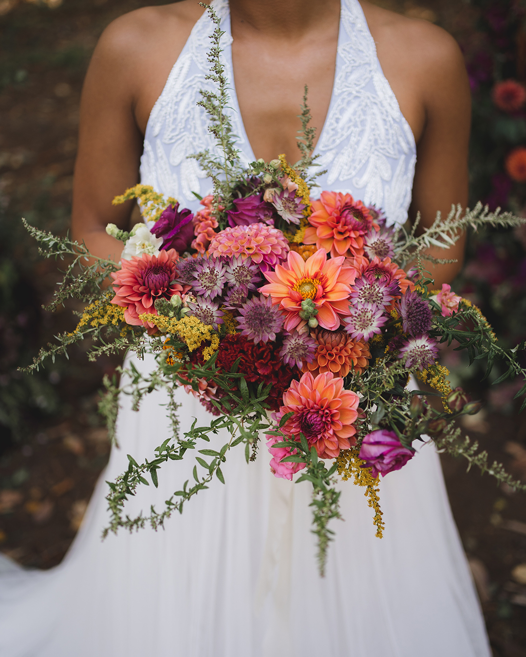 closeup of flower bouquet and bride