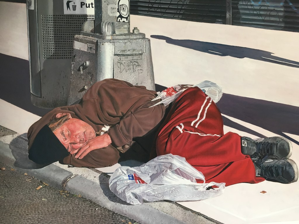 Painting of someone sleeping rough on streets