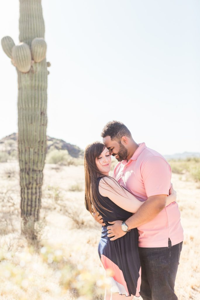 Engagement photos with saguaros
