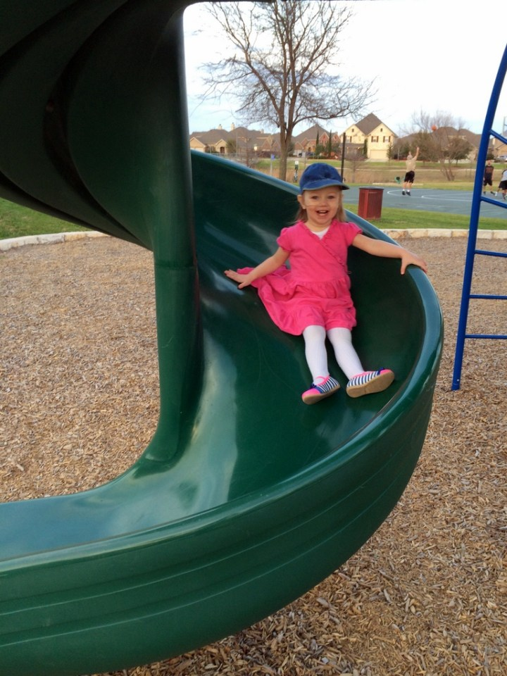 She loved this slide at the park