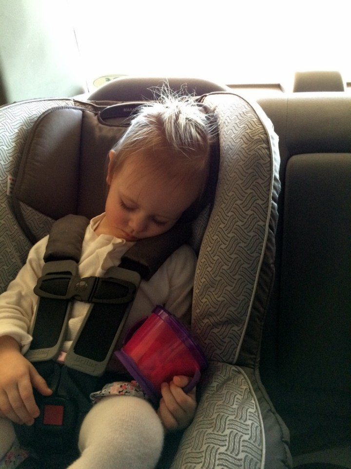 Eliza asleep on the way home from church