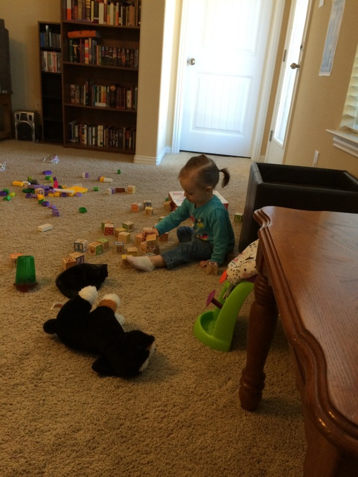 Eliza playing with her toys