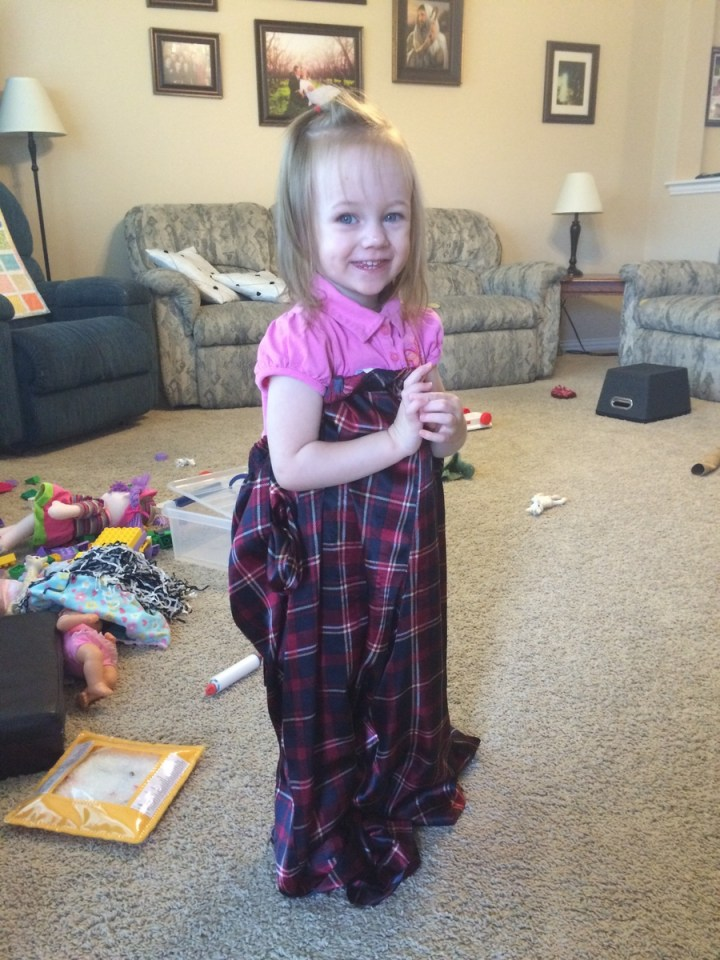 Eliza wearing mommy's pajama pants.