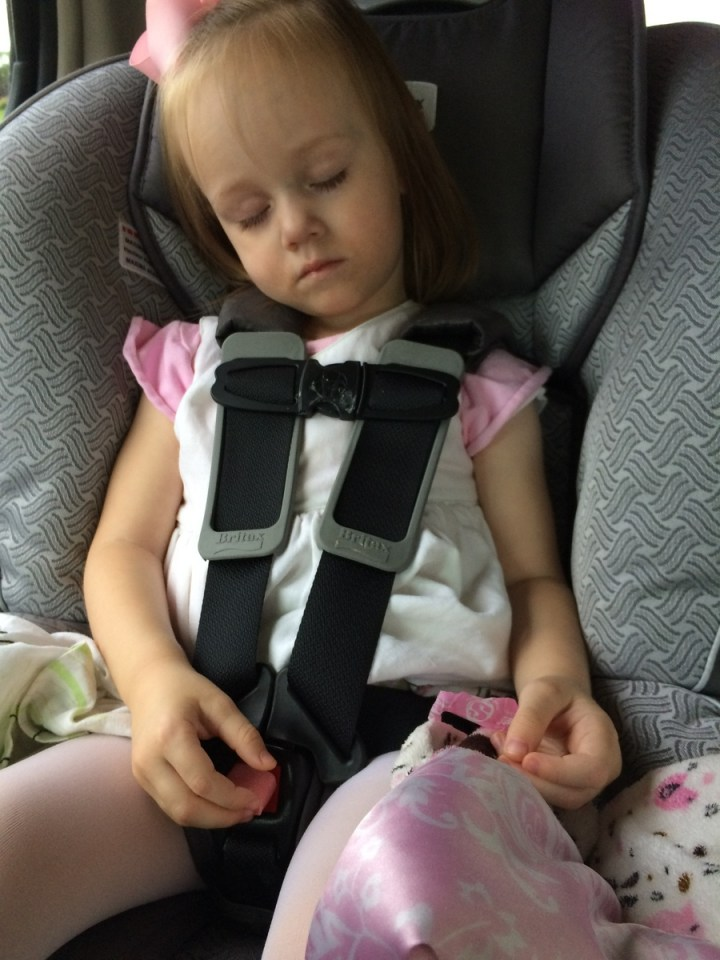 Eliza got a starburst candy from a friend at church. We asked her not to eat it until we got home. She was very obedience but opened it and fell asleep before we got home.