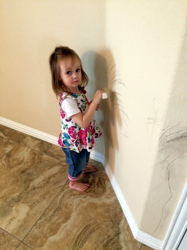 We made Eliza clean up the wall.