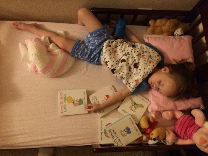 "Eliza often sleeps with her ""Pookie Books"""