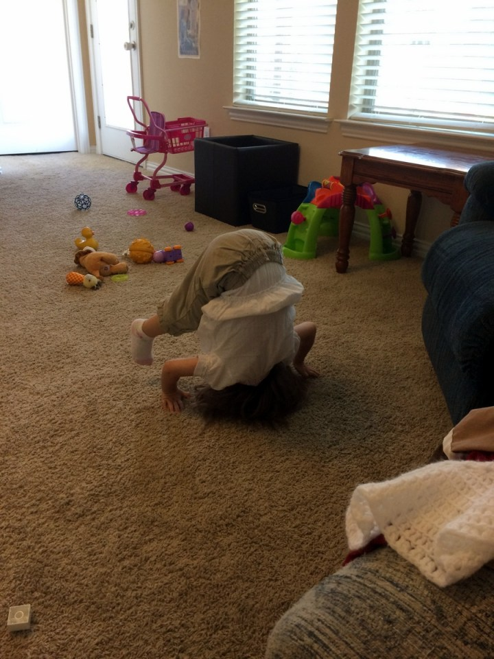 Eliza doing somersaults