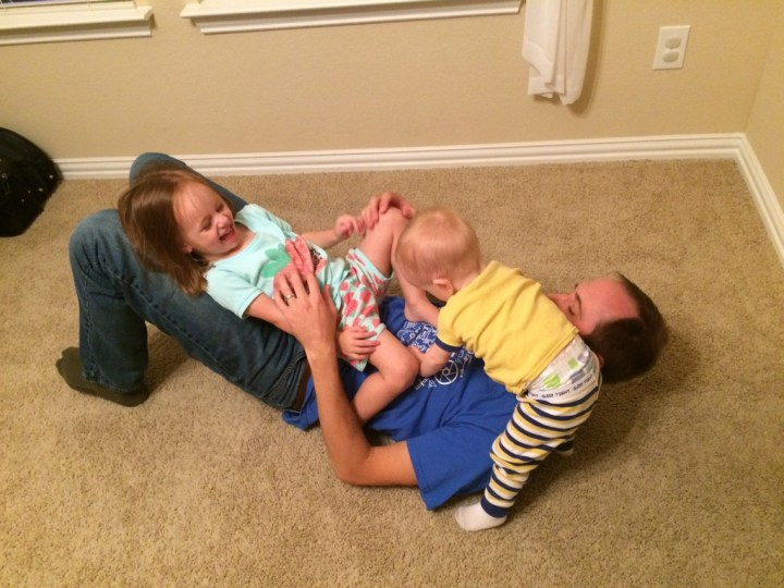 Just having a good time wrestling with the kids after FHE on Monday.