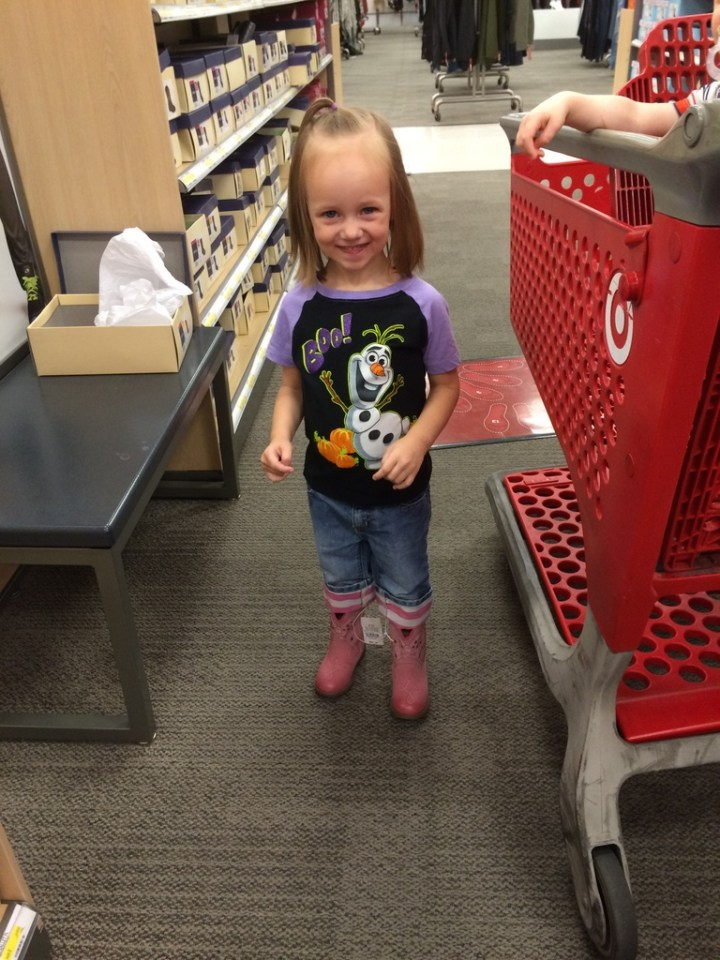 Eliza got her first cowboy boots this week. She's from Texas!