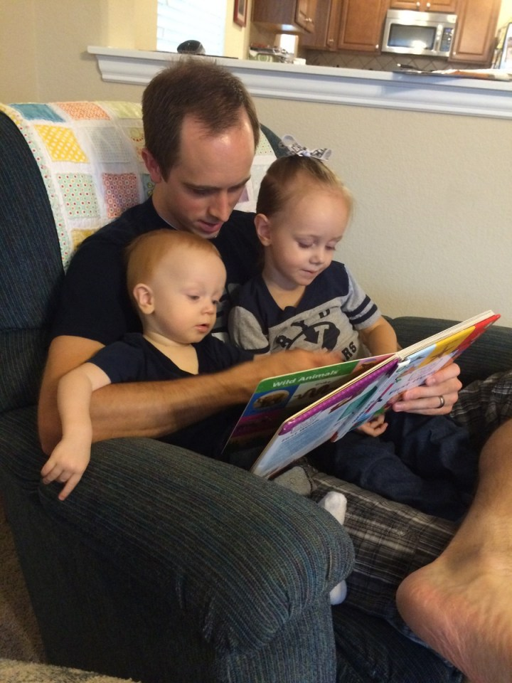 Reading stories on BYU day.