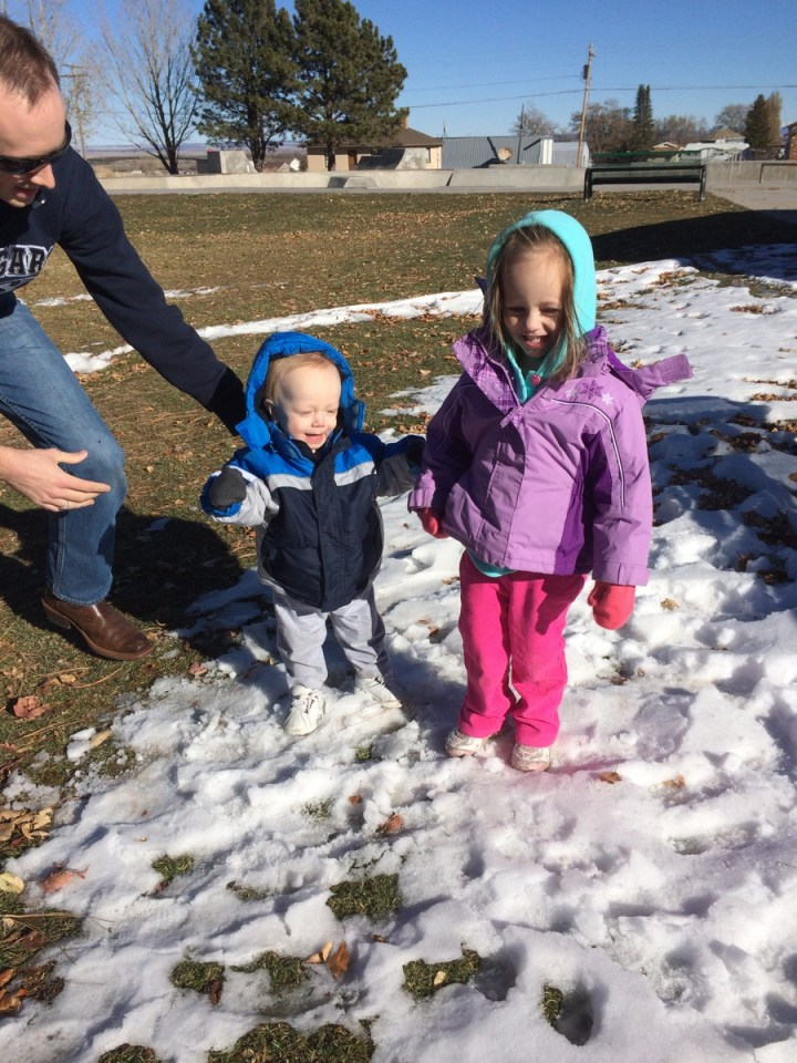"We let the kids get out and ""play"" in the snow during a brief stop in Monticello"