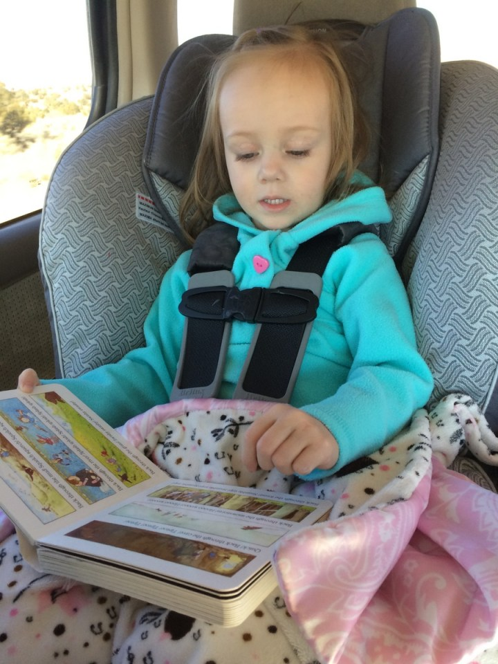 The kids were great in the car both to and from Utah. Eliza read books and entertained herself.
