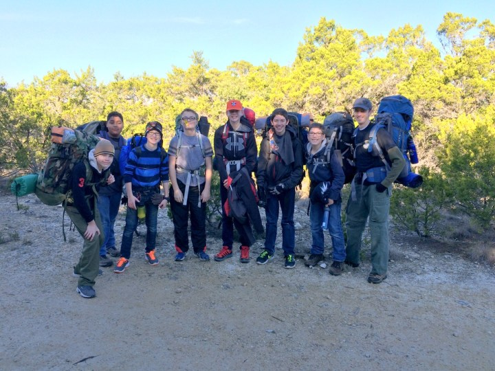 Troop 193 at the top of Wolf Mountain at Pedernales Falls State Park