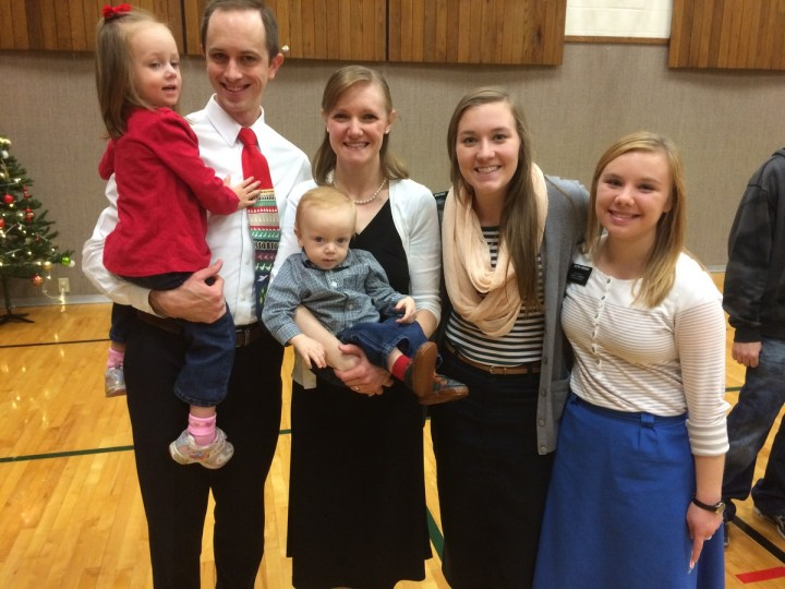 Us with the missionaries at the ward Christmas breakfast.