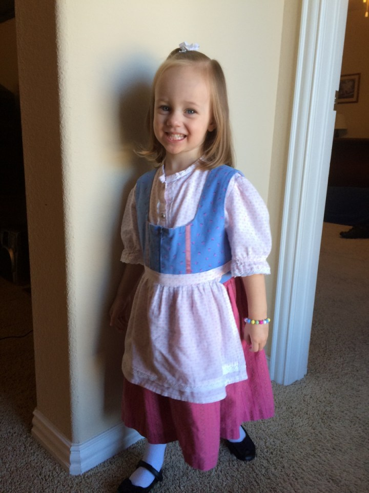 Grandma Huggard made this dirndl for Sarah years ago. Now Eliza can wear it.