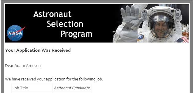 My application acceptance email from NASA.