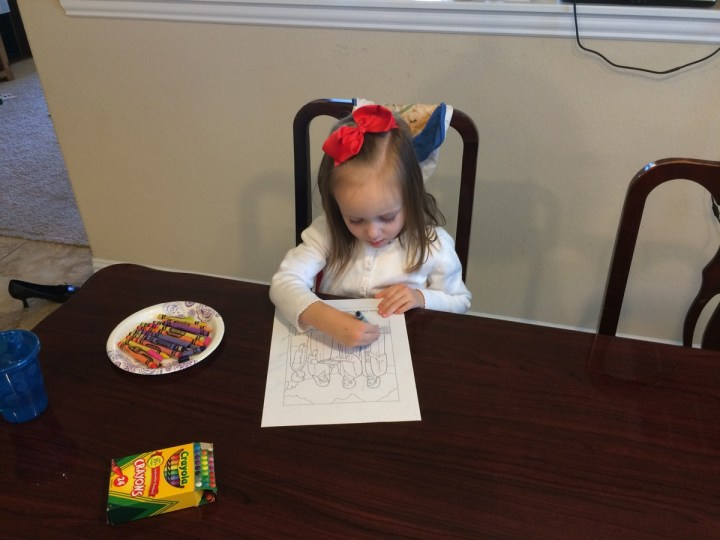 "Eliza coloring at our ""Nursery at Home"""