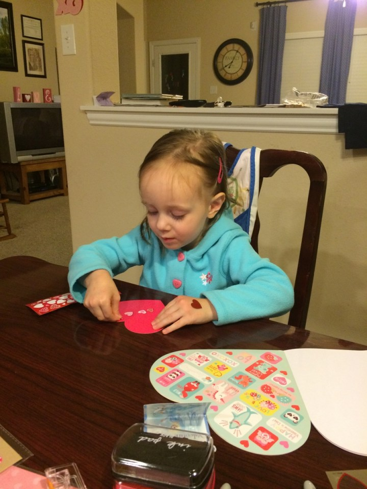Eliza has been making valentines for everyone!