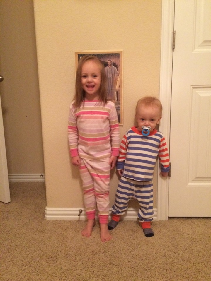 Matching in their striped pajamas