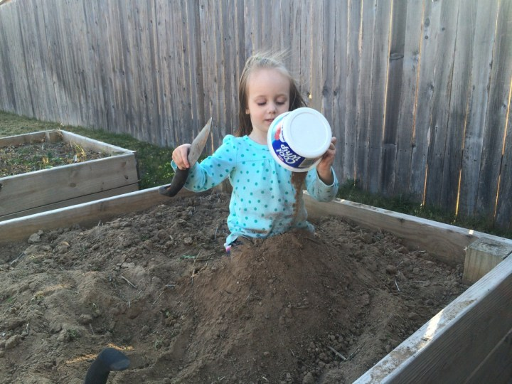 On Saturday, Eliza and I went outside to play. We didn't intend to play in the dirt but that's where we ended up.
