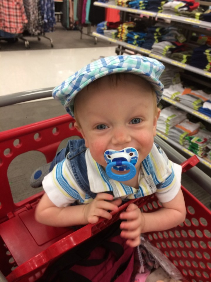 James tried on this cute hat at Target