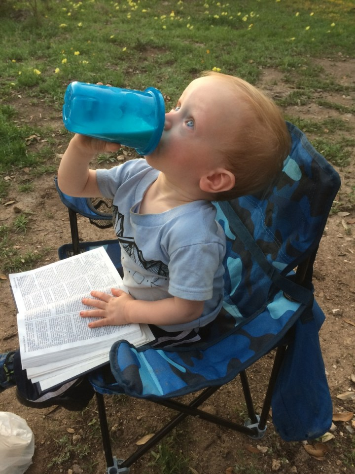 Just out camping with my milk and scriptures. Life is awesome.