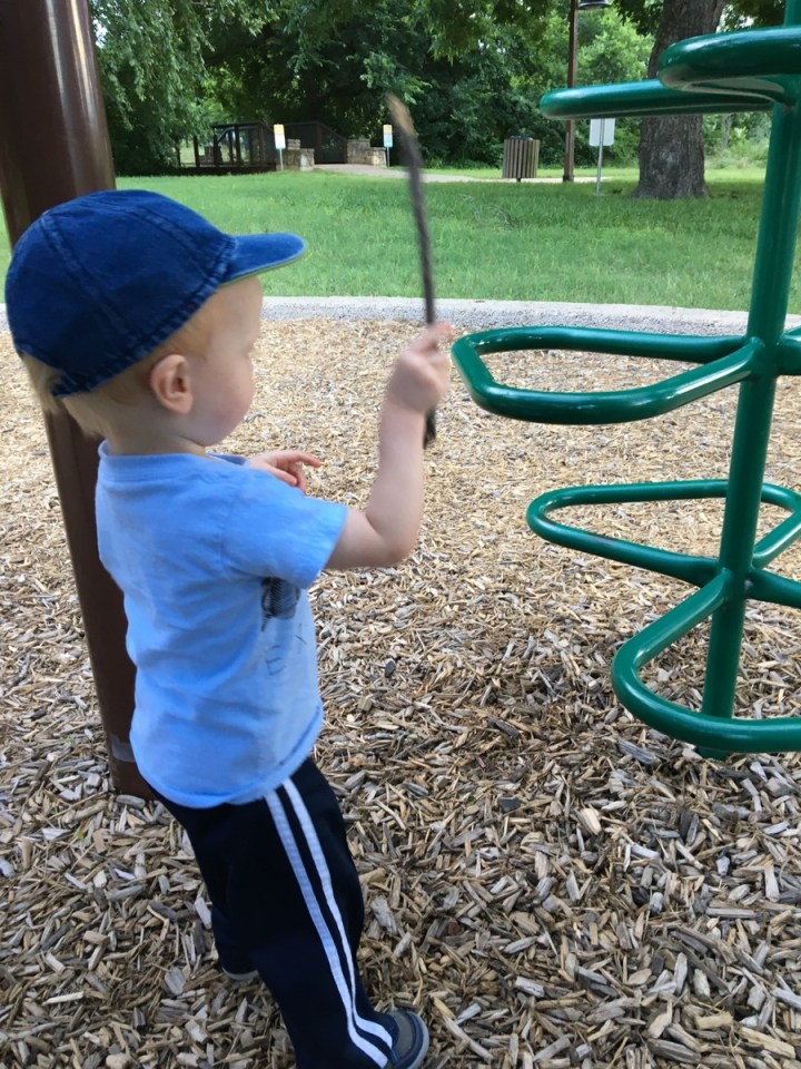 James found a stick and started banging on this ladder and making all kinds of glorious noise.
