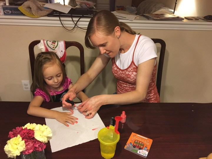 Mommy and Eliza had some girl time and did nails.