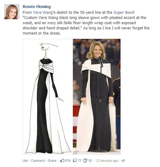 Renée Fleming's Super Bowl Costum 2014